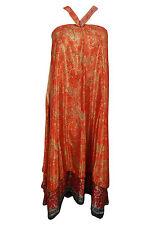 Indiatrendzs Women's Wrap Skirts Silk Sari Red/Pink Two Layer Sarong Dress