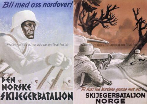 WWII WW2 Norse Poster Print Norge Norway årgang krigen plakat Andre verdenskrig