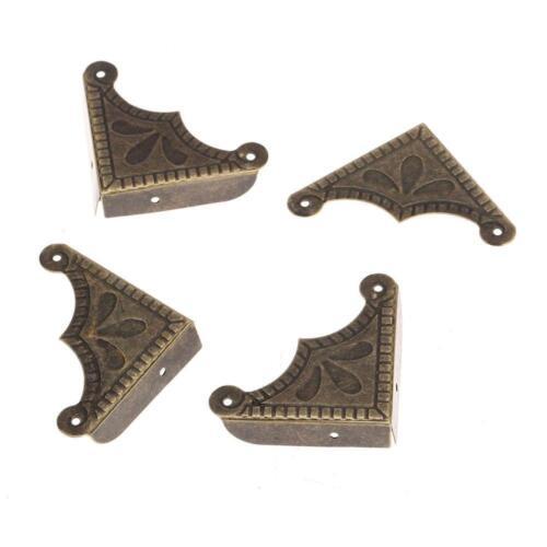12Pcs Antique Brass Decorative Jewelry Chest Wooden Box Corner Protector Guard