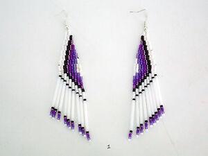 Image Is Loading Native American Seed Bugle Bead Earrings Hand Made