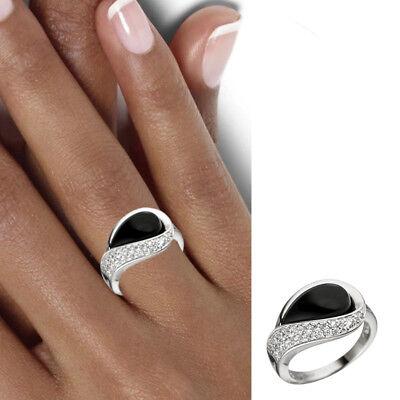 NEU Edelstein Ring Onyx schwarz 925 echt Silber Zirkonia große Größen 50-64