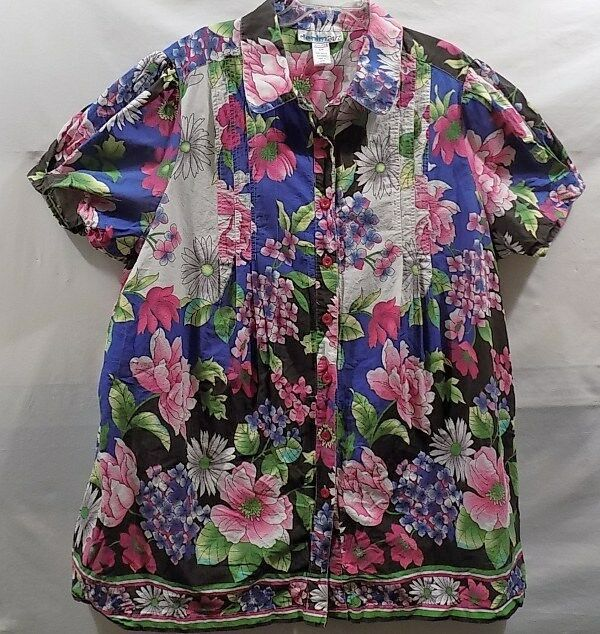 Beautiful Floral Print Denim 24 7 Woman's Size 30 W Tunic BlouseTop Short Sleeve