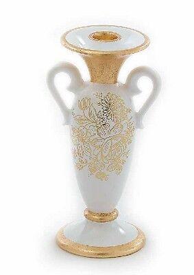 Ordinato Candeliere 1 Fiamma Portacandele Via Veneto Ceramica Foglia Oro Soprammobile