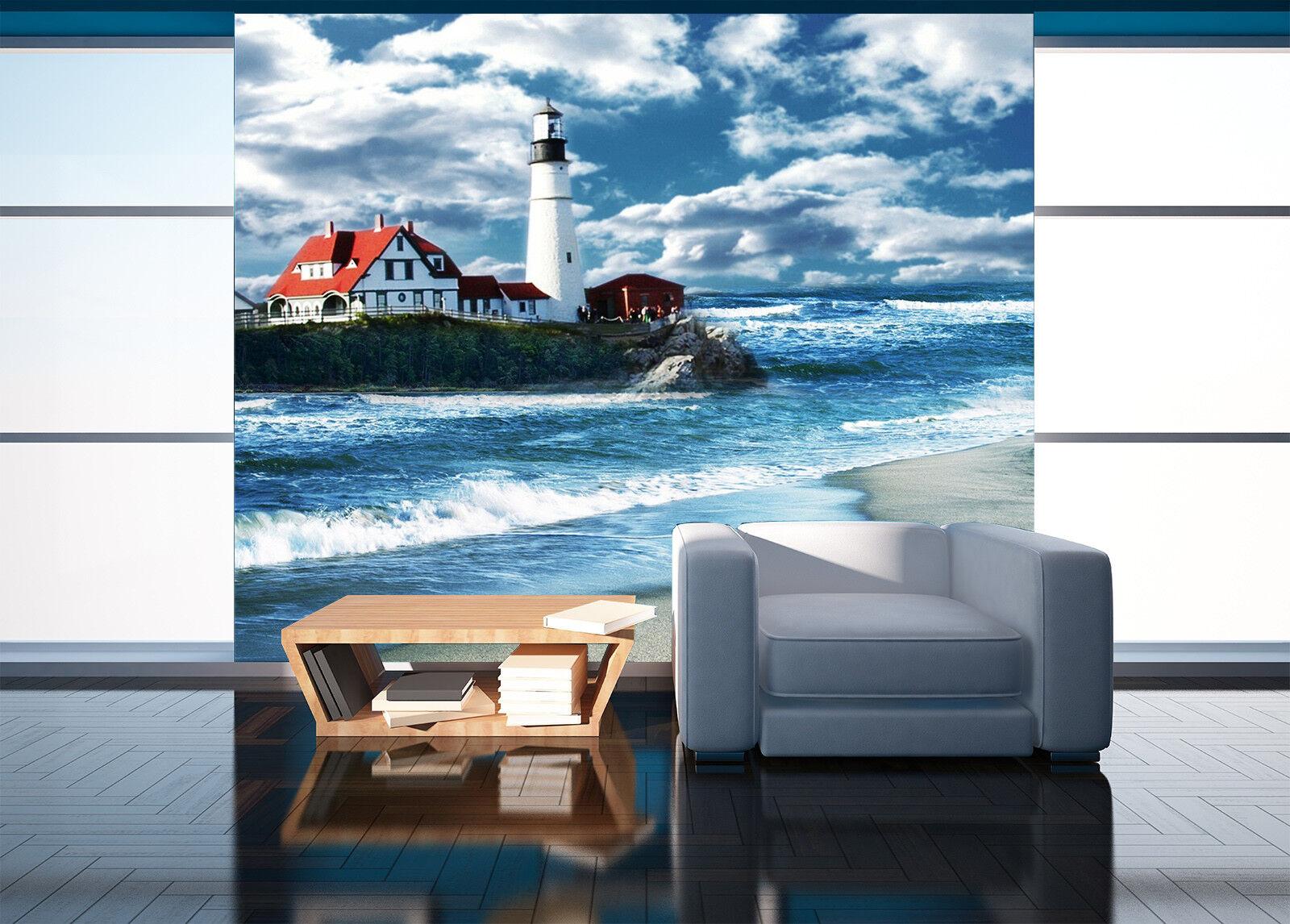3D Beach Lighthouse 731 Wall Paper Murals Wall Print Wall Wallpaper Mural AU Kyr