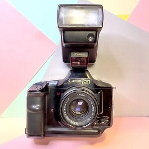 Canon-T90-Professional-35mm-Pellicola-SLR-Camera-X2-Lenti-Flash-BELLO-KIT-LOMO
