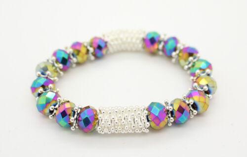 Cristal De Diamante De Cristal Con Cuentas Stretch Amistad Pulsera Brazalete De porciones de colores