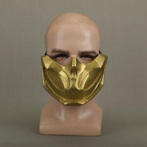 Mortal Kombat 11 Mk11 Mask Scorpion Man Cosplay Helmet Gold Half