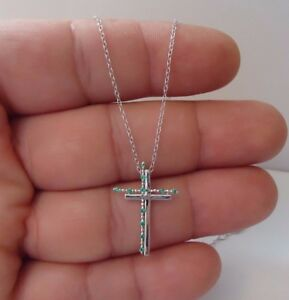 DOUBLE CROSS PENDANT NECKLACE W/ LAB EMERALDS / 925 STERLING SILVER /18'' CHAIN