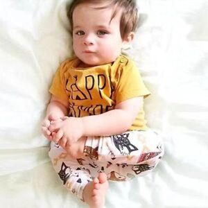 e2a9f2c9a 2pcs Newborn Infant Baby Boy Girl Clothes T-shirt Tops+Pants ...