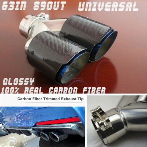 Carbon Fiber+steel Chrome Blue 63mm Car SUV Twin Exhaust Pipe Tail Muffler Tip