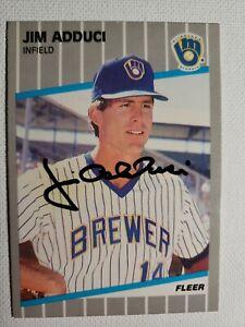 1989 Fleer Jim Adduci Auto Autograph Card Brewers, Cardinals Phillies Signed 176