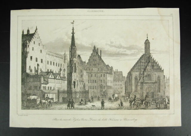 Nuremberg Place Of Market Church Notre-Dame Fountain Germany Engraving c1850