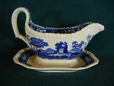 Spode Blue Tower New Mark Gravy Boat with Attached Under Plate