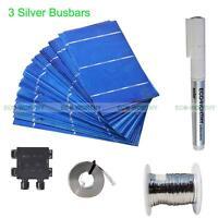 80pcs 3x6 Solar Cells Kit W/ Tabbing Bus Wire Flux & 50W J-Box for DIY 80W Panel