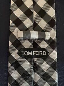 New-Tom-Ford-Mens-Necktie-Tie-Black-Silver-Gray-Tones-Grid-Check-3-5-X-60-5