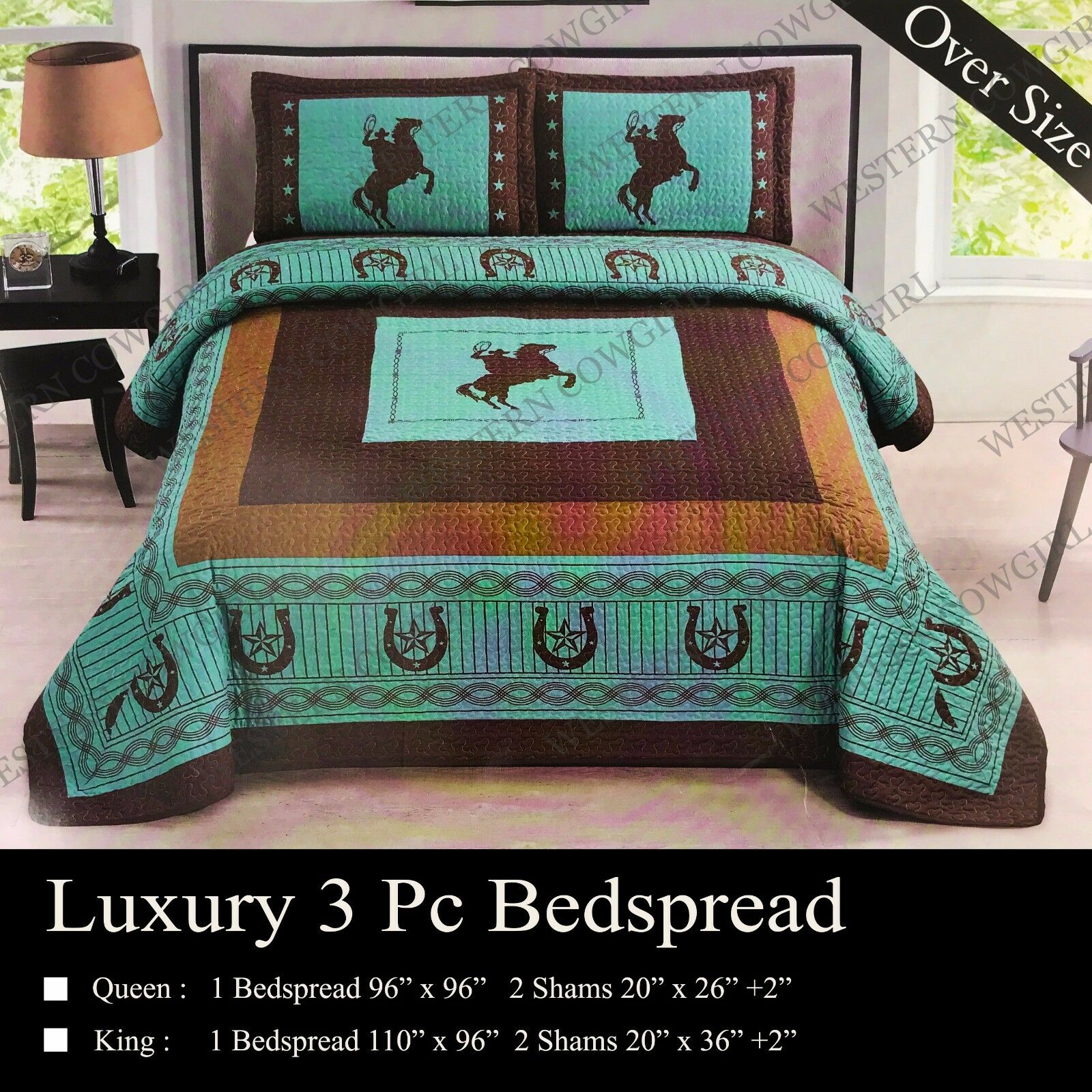 Western Star Cowboy Horse Horseshoe Quilt Bedspread ...