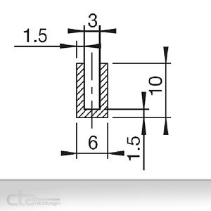 1m Fassungsprofil 10x6 Dichtprofil U-Profil Kantenschutz EPDM  schwarz 1C38-100