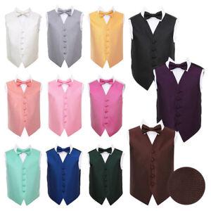 DQT-Boys-Waistcoat-amp-Bow-Tie-Set-Woven-Greek-Key-Wedding-Vest-FREE-Pocket-Square