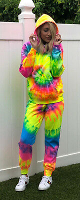Tie Dye Set Combo Rainbow Multi Color Sweatshirt Pants Hippie Hoodie