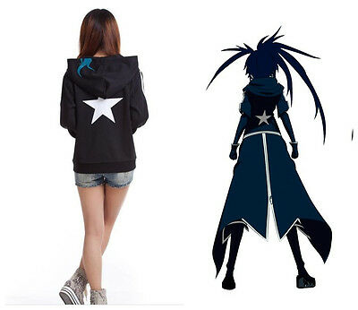 Neu Black Rock Shooter Cosplay Anime Kapuzen Sweatshirt Hoodie Schwarz 002