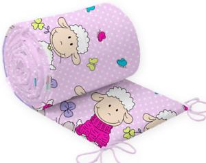 Baby Bedding BUMPER 190 cm Half CotBed Sheep Pink