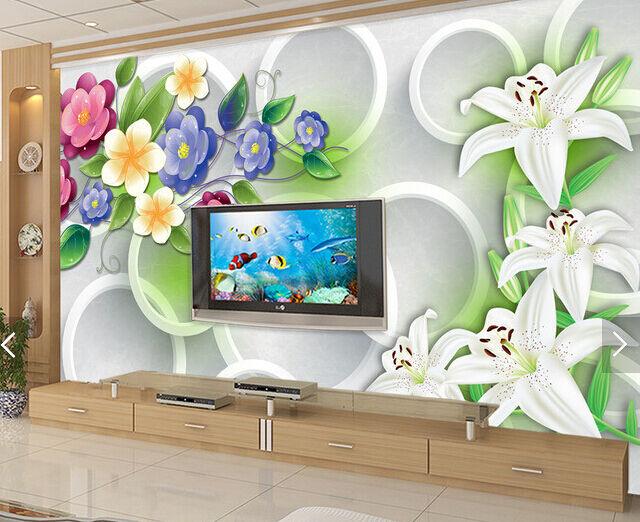 3D Lilien, bunte Blumen 2886 Fototapeten Wandbild Fototapete BildTapete Familie