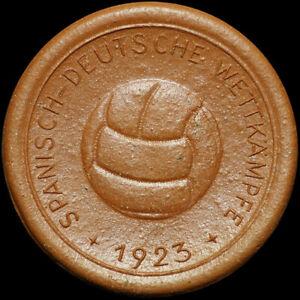 """PräZise Fussball: Porzellan-medaille 1923 Spanisch-deutsche WettkÄmpfe - """"a Nuestros..."""""""