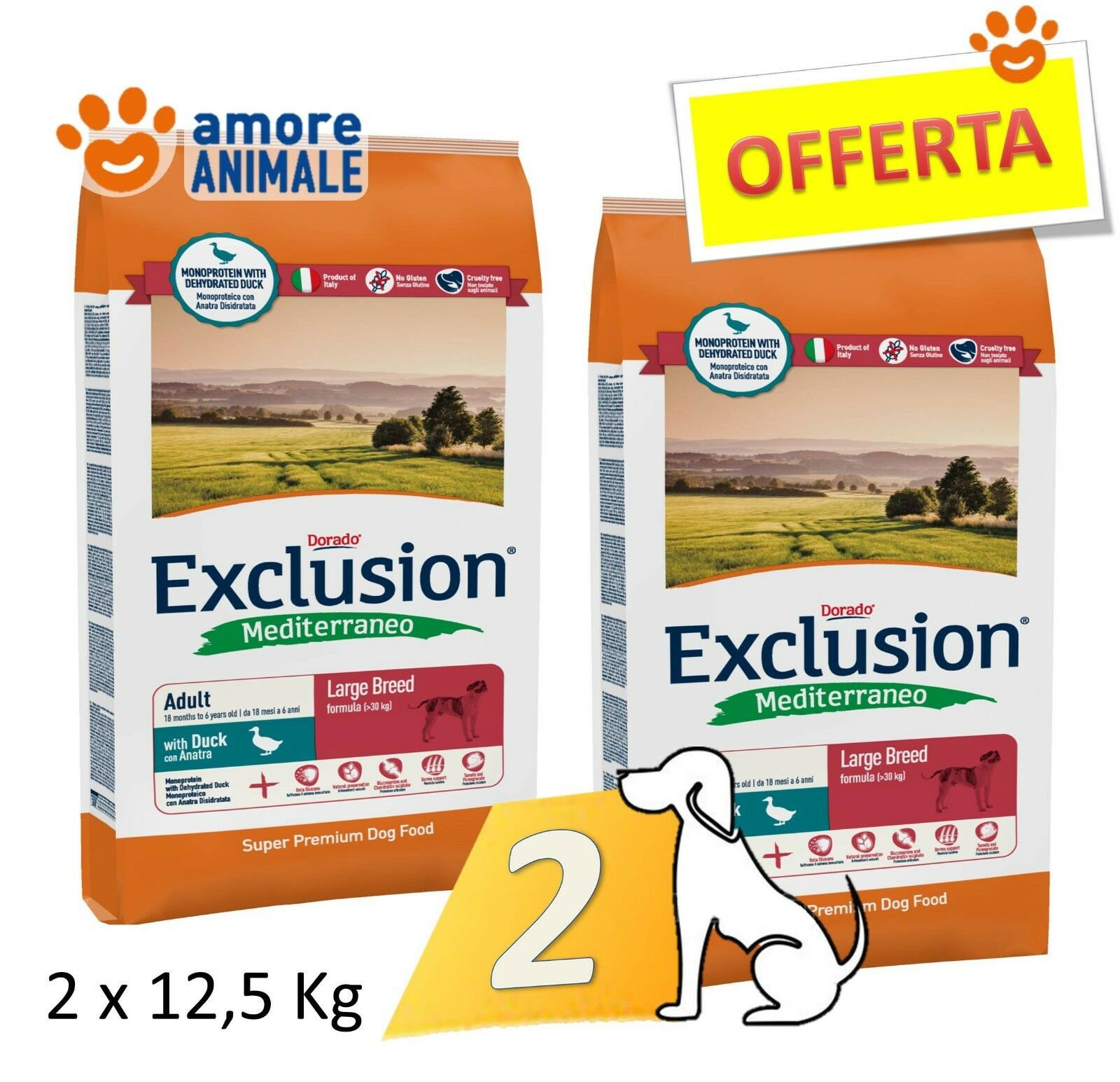 2 SAC   Exclusion Dog Mediterraneo Adult Large Breed con Anatra 12,5 kg Cani