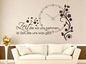 Details zu Wandtattoo Uhr XXL mit Uhrwerk für Wohnzimmer Spruch Zeit die  wir uns nehmen