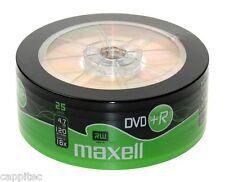 25 MAXELL DVD+R 4.7GB 16x MAX MATT GOLD TOP BLANK DISCS, MBIPG101 R05 DYE