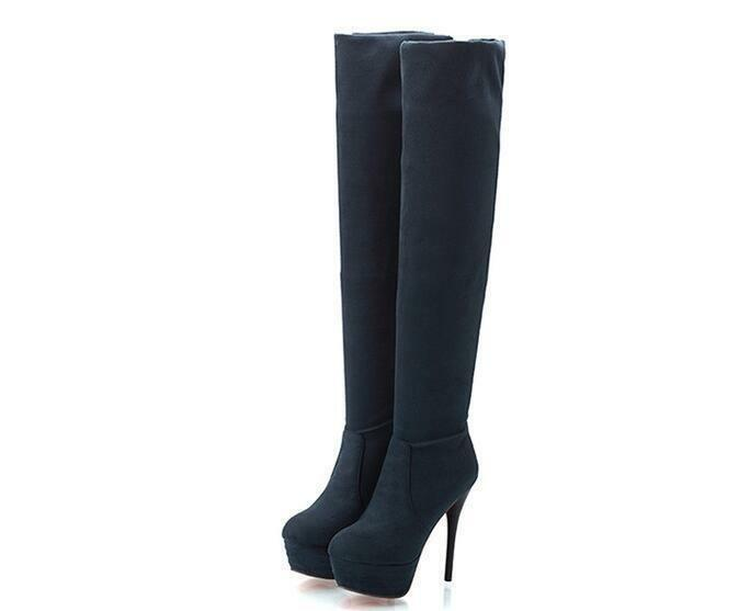 Ladies Stretchy Over Knee Thigh Boots Platform Stiletto High Heel Pull On shoes