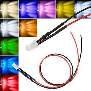 10X 5mm Leds Licht mit 25cm Kabel 12 Volt DC Led Fertig Verkabelt 12 V Cable