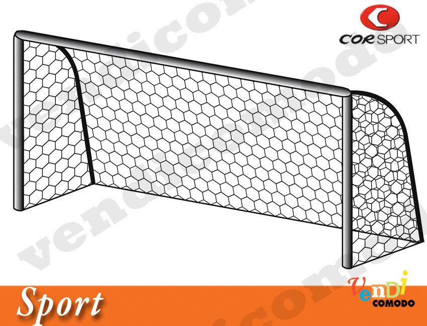Reti calcetto nylon paio CORSPORT 7,5x2,5 mt maglia esagonale 3mm football sport