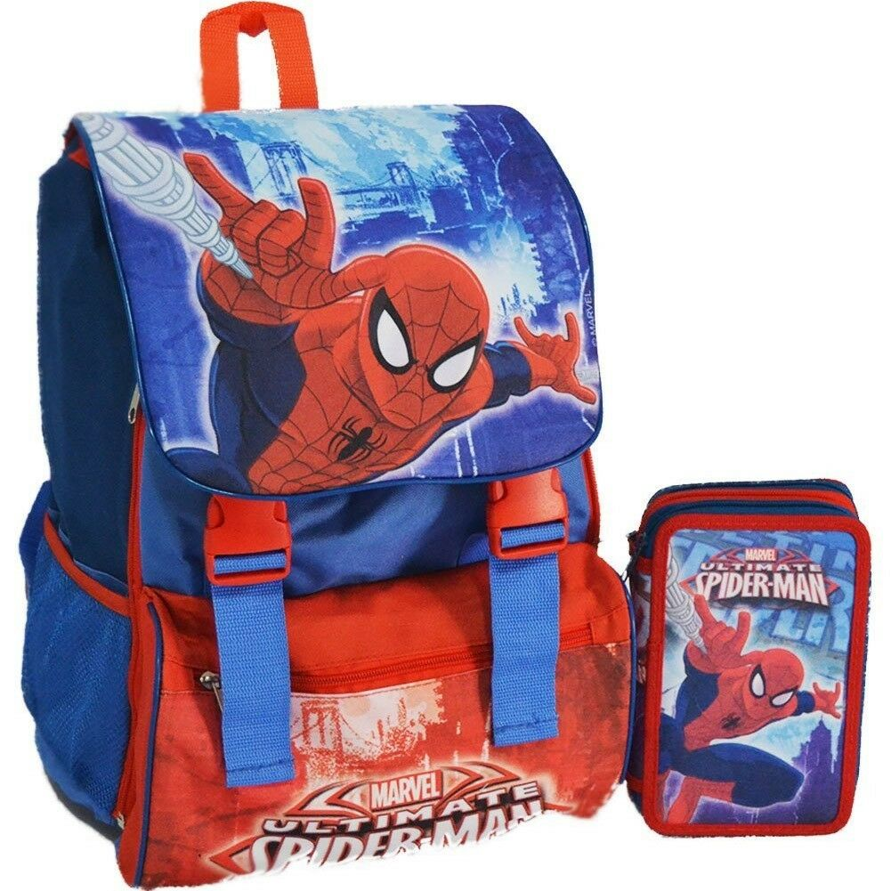 SCHOOL PACK SET ZAINO ELEMENTARI SCUOLA ESTENSIBILE + ASTUCCIO 3 ZIP SPIDERMAN