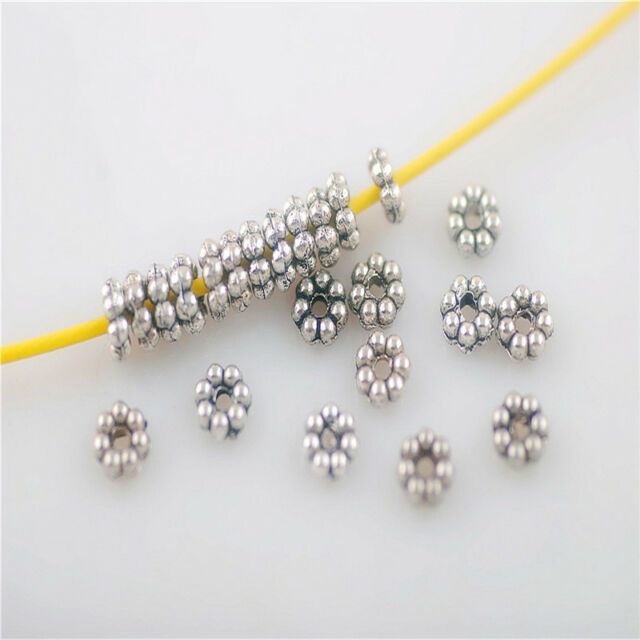 Wholesale 100ps Sliver Jewelry Making Crafts Loose Beads Spacer Charms 5mm