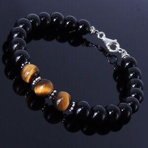 Men-Women-Handmade-Natural-Gem-Bracelet-Black-Obsidian-Tiger-Eye-Sterling-Silver