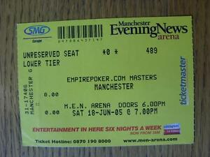 18062005 Ticket 6ASide Masters Tournament At MEN Arena Creased - Birmingham, United Kingdom - Returns accepted within 30 days after the item is delivered, if goods not as described. Buyer assumes responibilty for return proof of postage and costs. Most purchases from business sellers are protected by the Consumer Contr - Birmingham, United Kingdom
