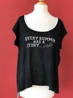 Seafolly Australia Black Linen Summer Side Walk Tee Size S/m