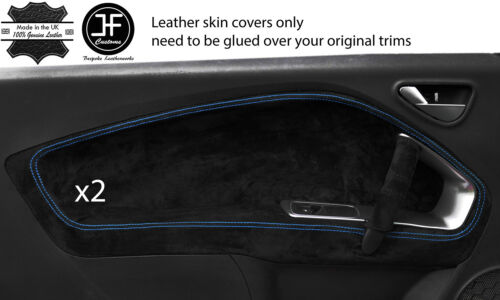 BLUE STITCH 2X FRONT DOOR CARD TRIM SUEDE COVERS FOR ALFA ROMEO MITO 2008-2017
