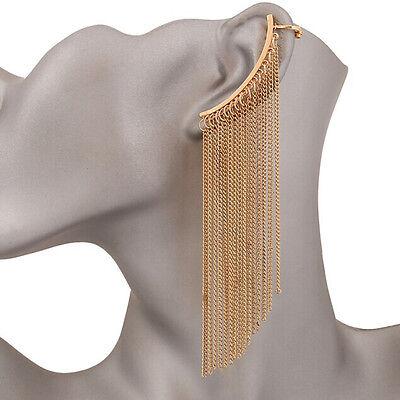 Fashion Womens Golden Multi Tassels Chain Cuff Earrings Ear Clip Stud Left Ear