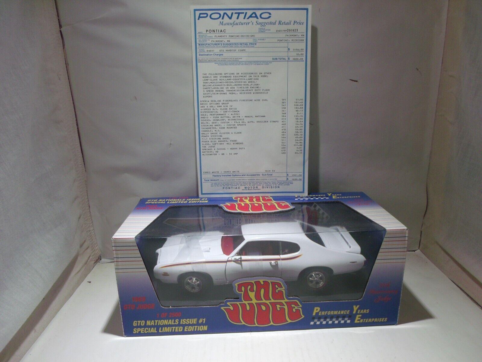 1 18 Ertl GTO Nationals Isuue  1 69 Judge Ram Air IV  Mint in Box