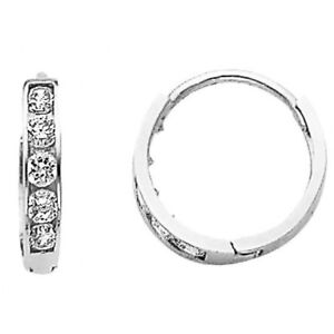 14K-Solid-Italian-White-Gold-2mm-Huggies-Hoop-Earrings-Round-Simulated-Diamonds