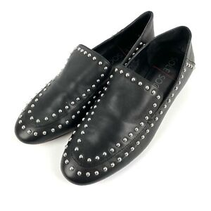 Sole Society Talbia 8.5 Shoe Black Leather Slip On Stud Loafer