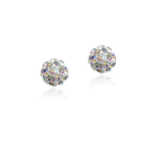 Argent 925 Perle blanche /& cristal boule collier bracelet /& boucles d/'oreilles Set