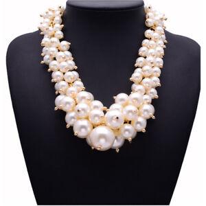 Fashion-Big-White-Pearl-Necklace-Gold-Chain-Cluster-Chunky-Choker-Statement-Bib