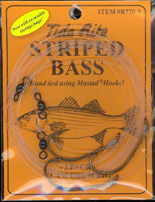 6 3 PACK BLUEFISH CHUM HOOKS CHUNK RIG  SIZE 7//0  WIRE SNELLED HOOK