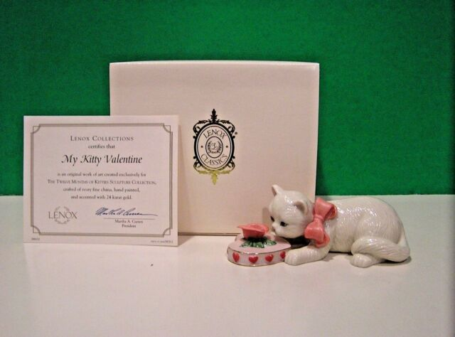 LENOX MY KITTY VALENTINE Cat sculpture NEW in BOX with COA February Kitten