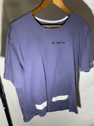Off White Champion Tee Blue Size Large Used