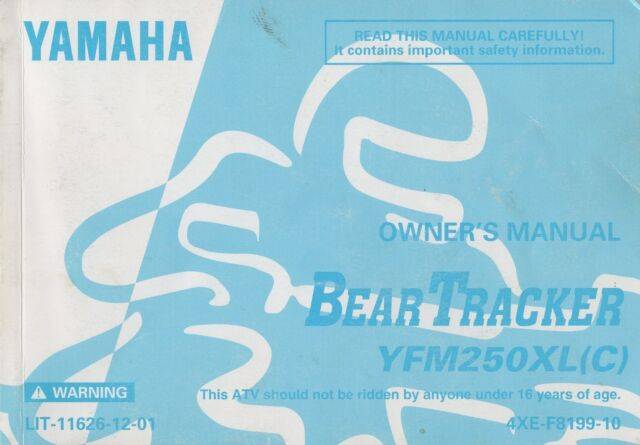1998 Yamaha Atv Bear Tracker Yfm250xl C  Owner U0026 39 S Manual