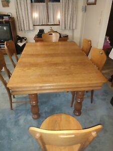 Image Is Loading Antique Oak Victorian Dining Table With Three Leaves